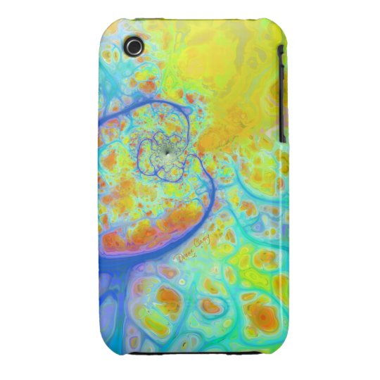 Emerging Galaxies – Teal & Lime Currents iPhone 3 Case-Mate Case