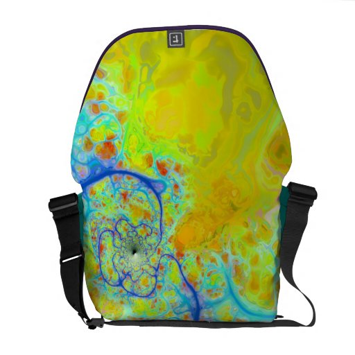 Emerging Galaxies – Teal & Lime Currents Courier Bags