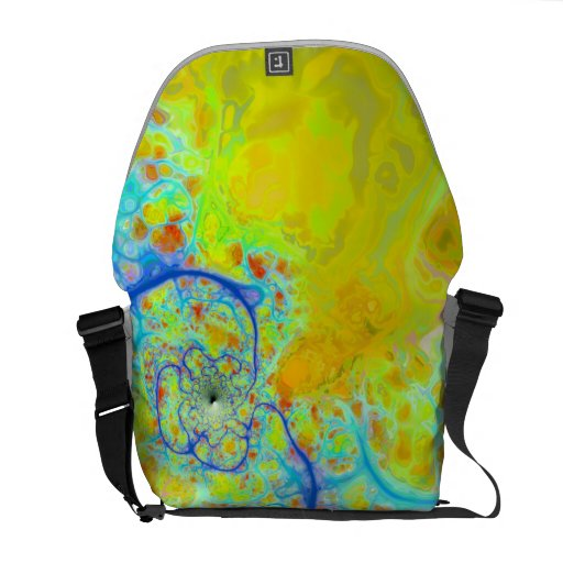 Emerging Galaxies – Teal & Lime Currents Messenger Bags