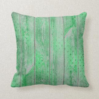 Emerlad Green Greenery Glam Metallic Wood Cottage Throw Pillow