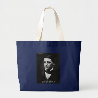 "Emerson ""Pace Of Nature"" Wisdom Quote Gifts & Tees Large Tote Bag"