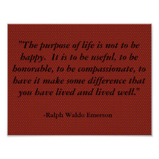 Emerson Quote on Life, Inspirational Poster