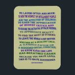 """Emerson quote on success magnet<br><div class=""""desc"""">Ralph Waldo Emerson&#39;s famous quotation for living a successful life. Pale olive/tan background is a zazzle color that you can change. Values to live your life by:  laugh often and much,  win respect,  affection,  find the best,  leave the word a better place.</div>"""