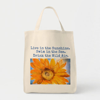 Emerson Quote Sunflower Art Grocery Tote