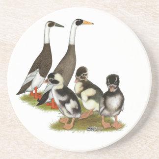 Emery Penciled Runner Duck Family Sandstone Coaster