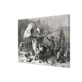 Emigración al país occidental lona estirada galerias