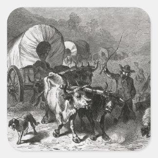 Emigración al país occidental pegatina cuadrada