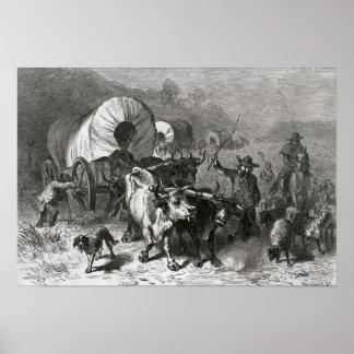 Emigración al país occidental póster