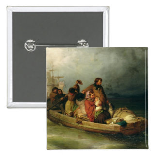 Emigrant passengers on board, 1851 pinback button