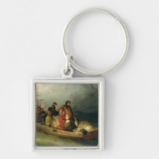 Emigrant passengers on board, 1851 Silver-Colored square keychain