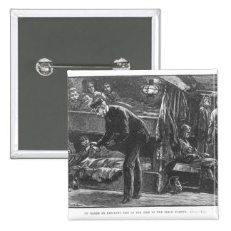 Emigrant Ship at the Time of the Irish Famine 2 Inch Square Button