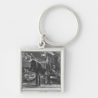Emigrant Ship at the Time of the Irish Famine Silver-Colored Square Keychain