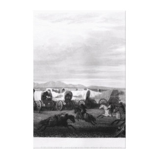 Emigrants attacked by the Comanches Canvas Print