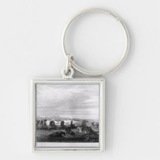 Emigrants attacked by the Comanches Silver-Colored Square Keychain