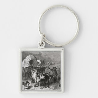 Emigration to the Western Country Silver-Colored Square Keychain