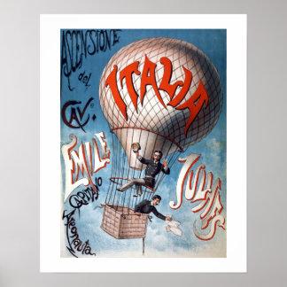 Emile Julhes Balloonist Vintage Illustration Poster
