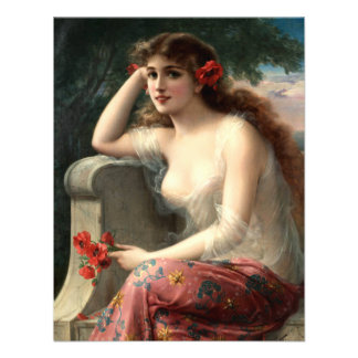 Emile Vernon Girl with a Poppy Invitations