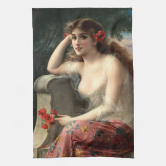 Emile Vernon Girl with a Poppy Kitchen Towel