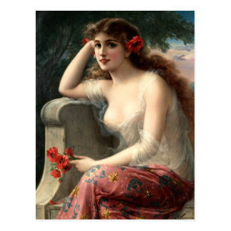 Emile Vernon Girl with a Poppy Postcard