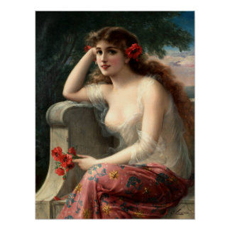 Emile Vernon Girl with a Poppy Poster