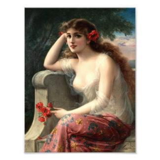 Emile Vernon Girl with a Poppy Print