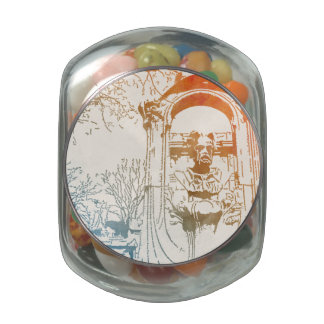 Émile Zola Memorial Watercolor Glass Candy Jar