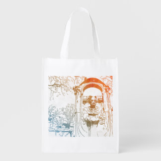 Émile Zola Memorial Watercolor Grocery Bag