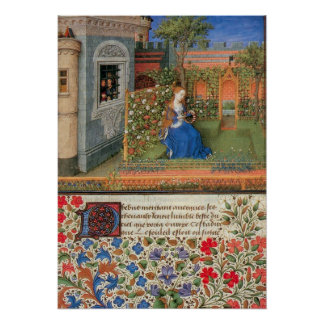 Emilia in the Rosegarden medieval illumination Poster