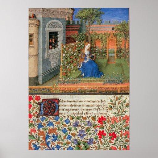 Emilia in the Rosegarden medieval illumination Poster