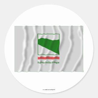 Emilia-Romagna waving flag Round Stickers