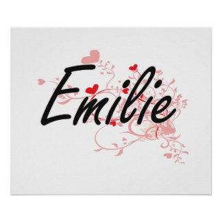 Emilie Artistic Name Design with Hearts Poster