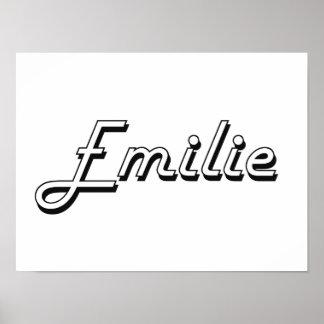Emilie Classic Retro Name Design Poster