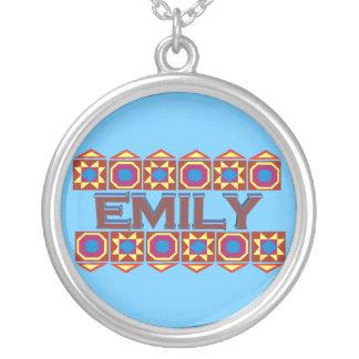 Emily Abstract art southwestern over lightblue Round Pendant Necklace
