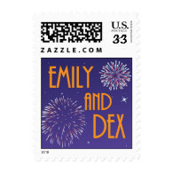Emily and Dex Fireworks stamp