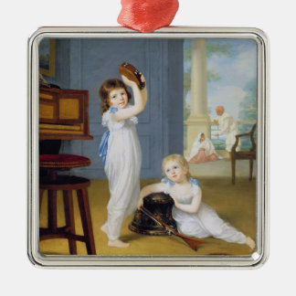 Emily and George Mason, c.1794-95 (oil on canvas) Square Metal Christmas Ornament