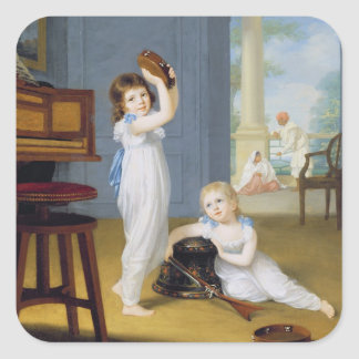 Emily and George Mason, c.1794-95 (oil on canvas) Square Sticker