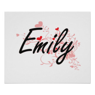Emily Artistic Name Design with Hearts Poster