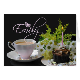 Emily Birthday card, pink with buttefly and flower Card