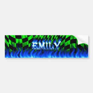 Emily blue fire and flames bumper sticker design car bumper sticker