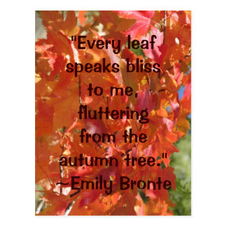 Emily Bronte Autumn Bliss Quote Postcard