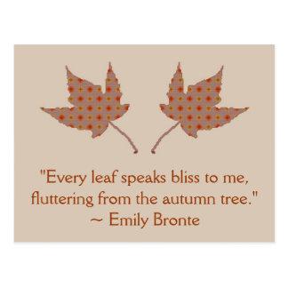 Emily Bronte Autumn Leaf Quote Postcard
