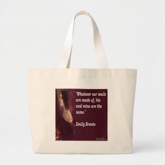 Emily Bronte & Famous Our Souls Quote Large Tote Bag