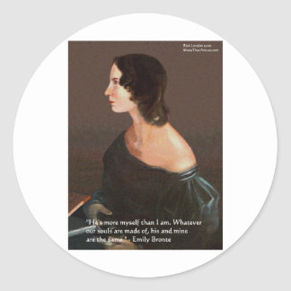 """Emily Bronte """"Souls Same"""" Love Quote Gifts & Cards Round Stickers"""