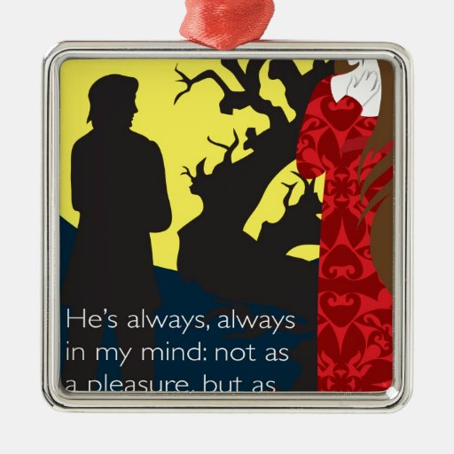 Emily Bronte / Wuthering Height gift design with q Square Metal Christmas Ornament