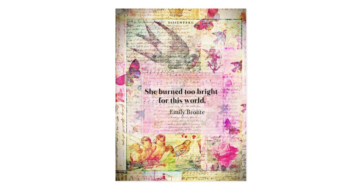 Emily Bront Wuthering Heights Quote Postcard Zazzle