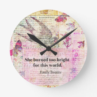 Emily Brontë, Wuthering Heights quote Round Clock