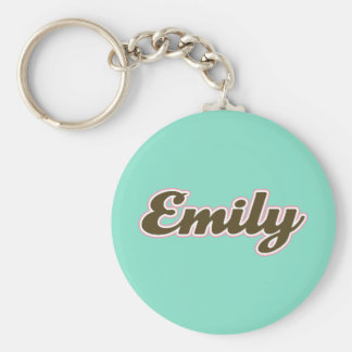 Emily Brown and Teal Basic Round Button Keychain