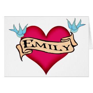 Emily - camisetas y regalos de encargo del tatuaje tarjeta de felicitación