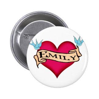 Emily - Custom Heart Tattoo T-shirts & Gifts Button