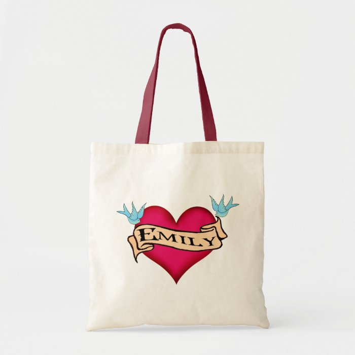Emily custom heart tattoo t shirts gifts tote bag zazzle for Personalized t shirt bags
